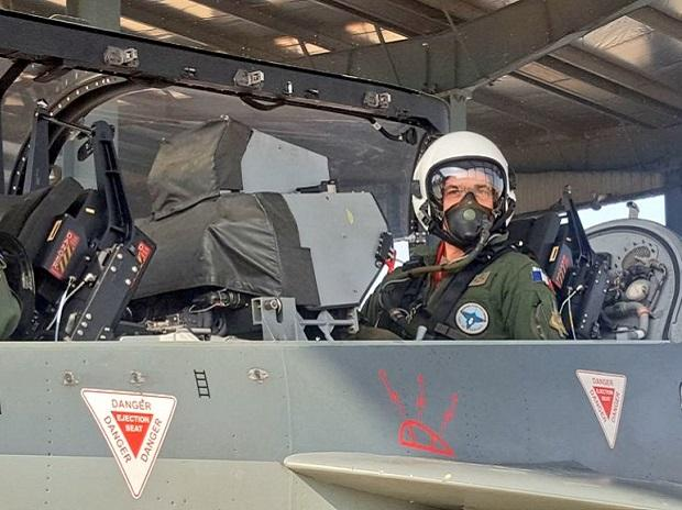 The Chief of the Staff of French Air Force, General Andre Lanata, while on a good will visit to India, flew a sortie in 'Made in India' - LCA #Tejas Aircraft at AF Station Jodhpur. Photo: ANI