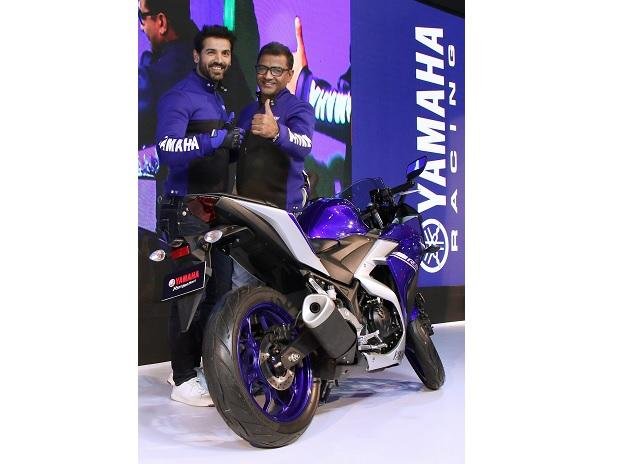 Bollywood actor and Yamaha's brand ambassador John Abraham during the launch of Yamaha YZF-R3 motorcycle during the 2018 Auto Expo, in Greater Noida. Photo: PTI