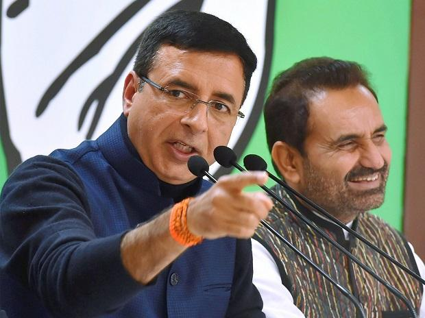 AICC spokesperson Randeep Singh Surjewala addresses a press conference in New Delhi