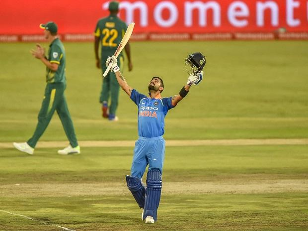 Virat Kohli celebrates after getting his 100 runs during the Sixth ODI cricket match between South Africa and India in Pretoria. Photo: AP/PTI