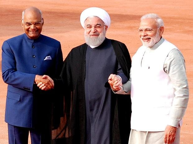 Ram Nath Kovind, Narendra Modi, Hassan Rouhani. Photo: Dalip Kumar
