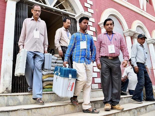 Polling oficials leave for various polling station from  distribution centre on the eve of Tripura Assembly elections, in Agartala. (Photo: PTI)
