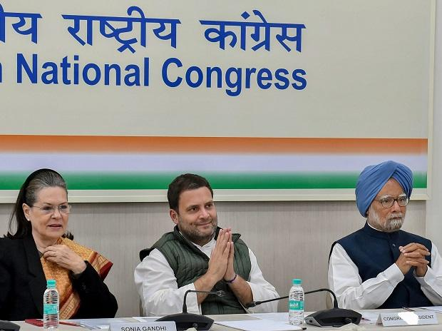 Congress President Rahul Gandhi with Sonia Gandhi and former prime minister Manmohan Singh presides the party's 'Steering Committee' meeting  in New Delhi. Photo: PTI
