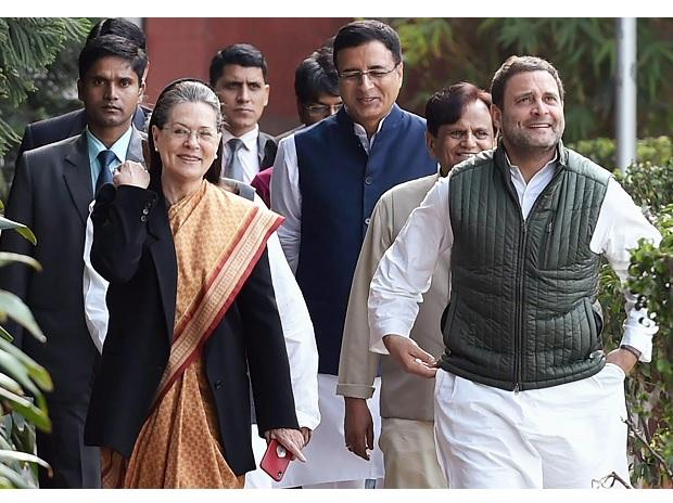 Congress President Rahul Gandhi with Sonia Gandhi and other leaders arrives to preside the party's 'Steering Commit   tee' meeting in New Delhi. (Photo: PTI)
