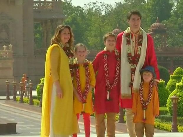 Justin Trudeau with wife and kids