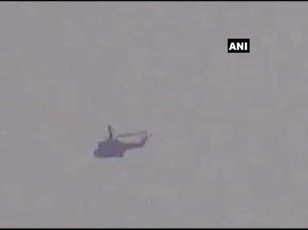 Visual of the Pakistan military helicopter which came up to 300 metres of the LOC near Poonch, but then returned