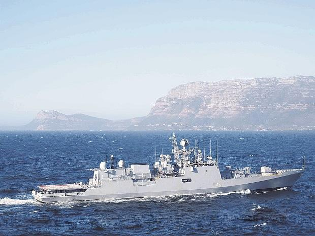 INS Teg, one of the Indian Navy's Krivak III frigates, sails into the South African Navy base at Simon's Town.