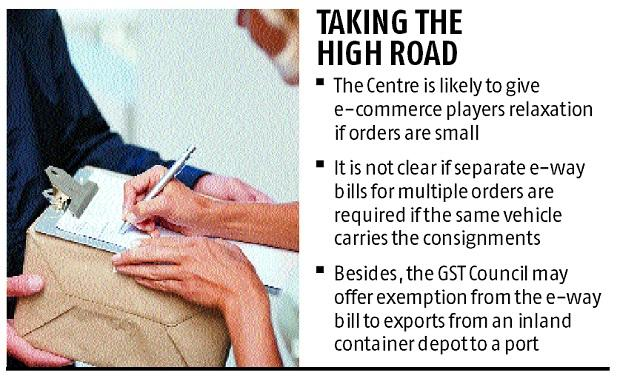 E-way bill may be relaxed for e-commerce players if orders