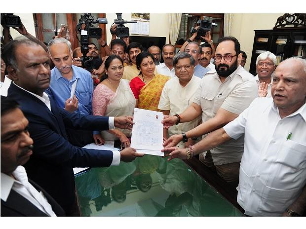 BJP Rajya Sabha candidate industrialist Rajeev Chandrasekhar files his nomination for Rajya Sabha elections in the presence of  BJP State President B. S. Yeddyurappa at Vidhana Soudha, in Bengaluru. (Photo: PTI)