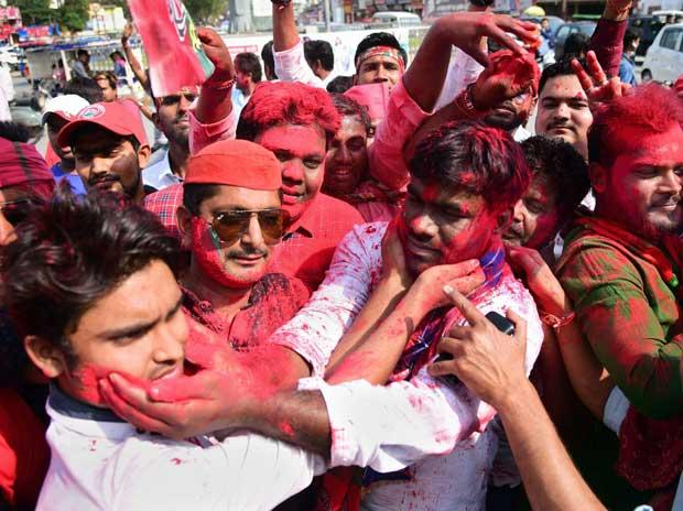 SP, BSP workers celebrate in Gorakhpur as the SP candidate Praveen Kumar Nishad leads in the counting of votes.