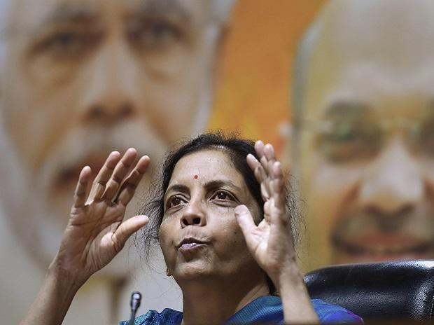 Defence minister Nirmala Sitharaman speaks during a press conference at BJP Headquarter in New Delhi, on Sunday