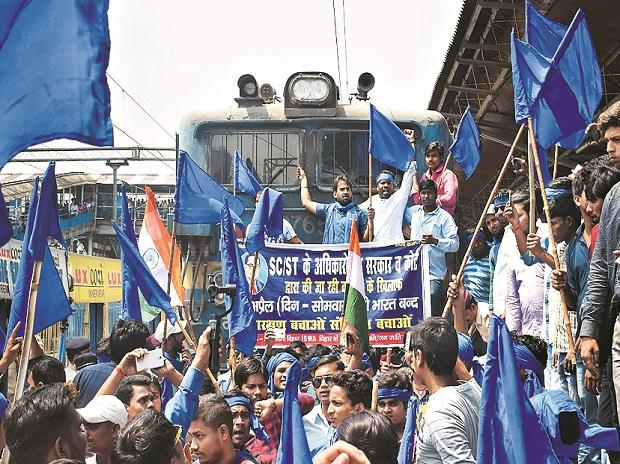 Patna: Bhim Army Sena members stop a train during the bandh call given by Dalit organisations