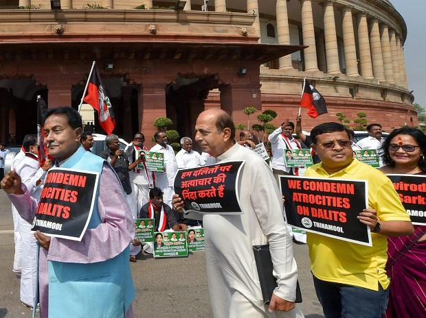 TMC protest protest to condemn the atrocities on Dalits at Parliament in New Delhi. Photo: PTI