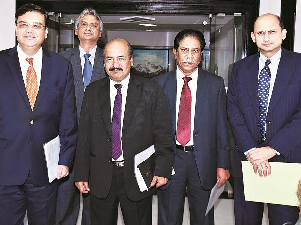 (From left) RBI Governor Urjit Patel, Executive Director M D Patra, Deputy Governors N S Vishwanathan, B P Kanungo and  Viral Acharya during a press conference in Mumbai on Thursday. Photo: Kamlesh Pednekar