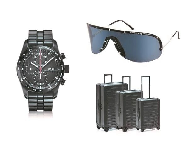 (Clockwise from left): The Chronotimer Series 1; P'8479 sunglasses; and Roadster Hardcase Luggage Set Black Edition by Porsche Design.