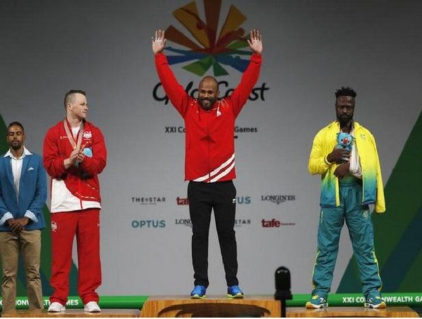 Satish Kumar, Commonwealth Games wins gold in Commonwealth Games 2018 Photo: ANI/Twitter