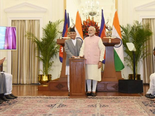 Prime Minister of India, Narendra Modi, and Prime Minister of Nepal, K.P. Sharma Oli, launched the ground-breaking ceremony of India-Nepal petroleum products pipeline from Motihari to Amlekhgunj through live-streaming at Hyderabad House in New Delhi