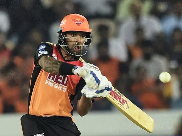 Shikhar Dhawan in action against Rajasthan Royals IPL 2018. Photo: PTI