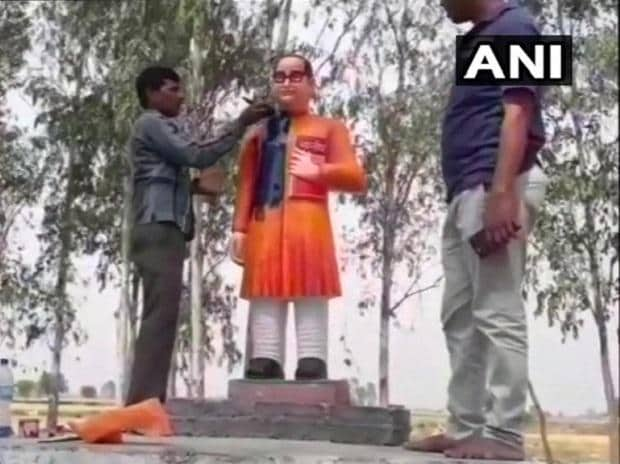 BR Ambedkar's statue rebuilt, painted in saffron in UP