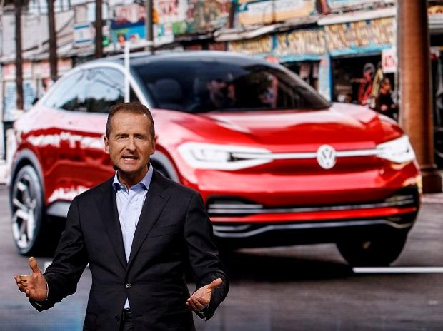 Herbert Diess from the Volkswagen Group presents the new I.D. Vizzion car model during an event at the 88th International Motor Show at Palexpo in Geneva, Switzerland, March 5, 2018