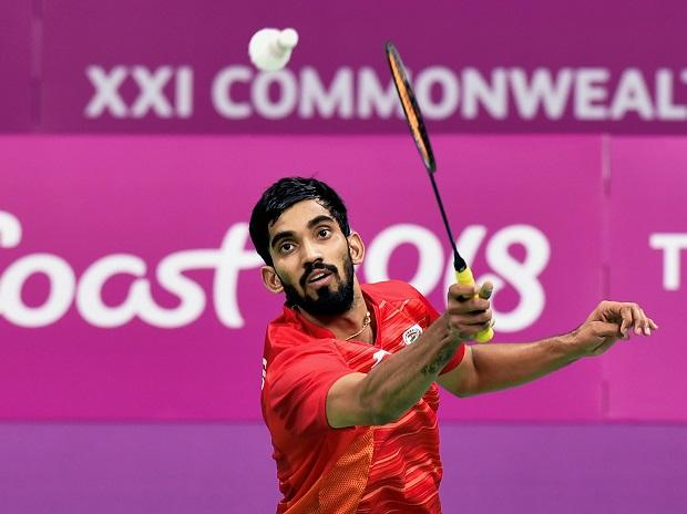 India's Srikanth Kidambi returns to Sri Lanka's Niluka Karunaratne during the badminton men's singles round of 16 match at the Commonwealth Games 2018 in Gold Coast, on Thursday