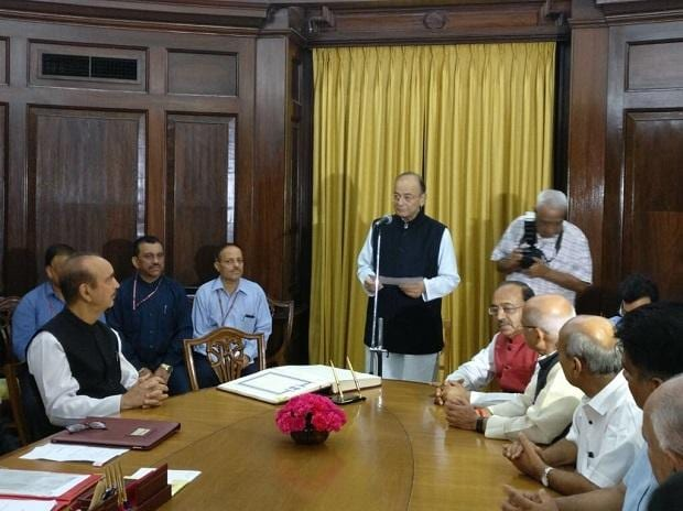Finance Minister Arun Jaitley takes oath as Rajya Sabha member