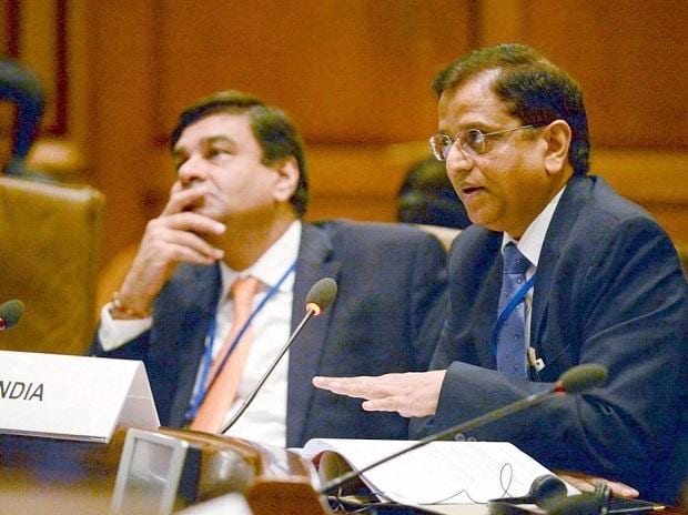 ecretary, Department of Economic Affairs, S.C. Garg with RBI Governor Urjit Patel  participating in BRICS Finance Ministers and Central Bank Governors Meeting, during 2018 Spring Meetings of the International Monetary Fund, in Washington. Photo: PTI
