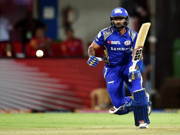Mumbai Indians player Suryakumar Yadav runs between the wickets during in IPL 2018 match against Kings XI Punjab at Holkar Stadium in Indore. Photo: PTI