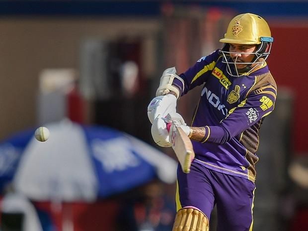 Kolkata Knight Riders' Sunil Narine plays a shot against Kings XI Punjab during an IPL T20 cricket match at Holkar Stadium. Photo: PTI