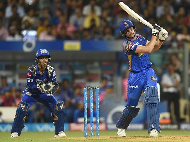 Rajasthan Royals batsman Jos Buttler plays a shot in the MI-RR IPL match in Mumbai. Photo: PTI