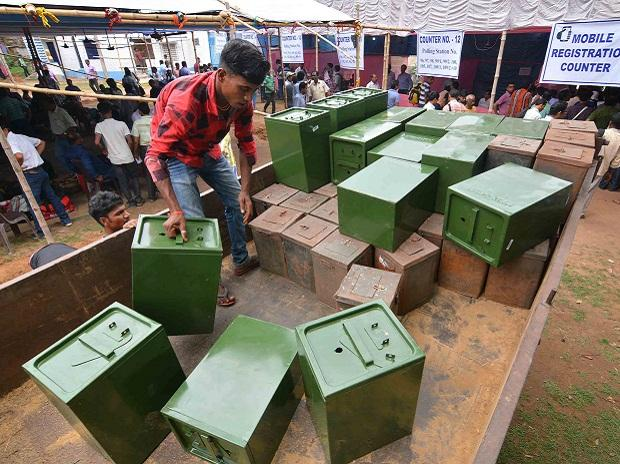 Election personal distributing ballot boxes to Polling officials before they leave for polling stations at BDO office, on the eve of West Bengal Panchayat Elections 2018 in Birbhum district on Sunday