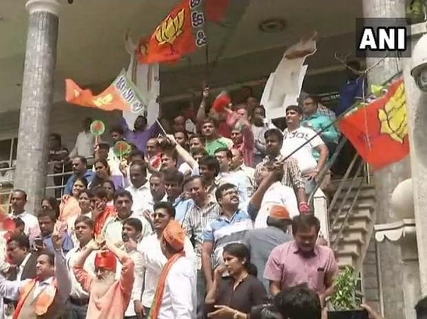 Karnataka Assembly polls 2018 results today: BJP workers celebrate outside party office in Bengaluru. Photo: @ANI
