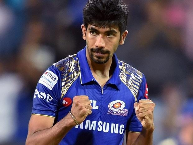 Mumbai Indians bowler Jasprit Bumrah celebrates the wicket of Kings XI Punjab batsman Aaron Finch during the IPL match played in Mumbai. Photo: PTI