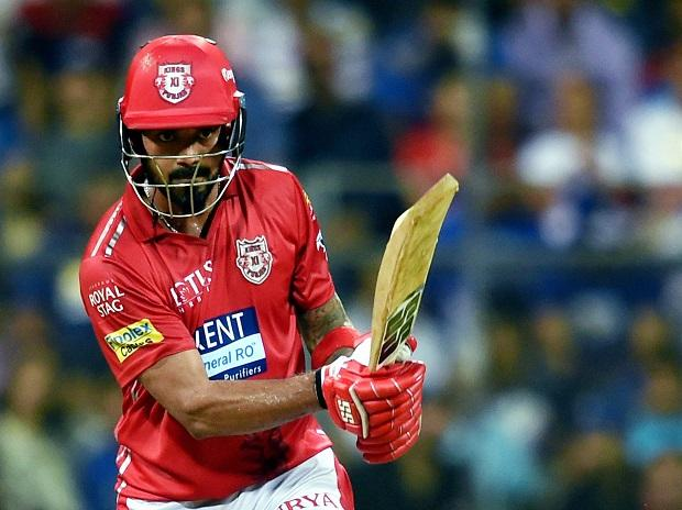 Kings XI Punjab batsman K L Rahul  plays a shot against Mumbai Indians during their IPL T20 cricket match in Mumbai. Photo: PTI