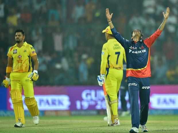 CSK vs DD, IPL 2018, Delhi Daredevils bowler Sandeep celebrates wicket of Chennai Super Kings batsman Suresh Raina during an IPL 2018 match in New Delhi. Photo: PTI
