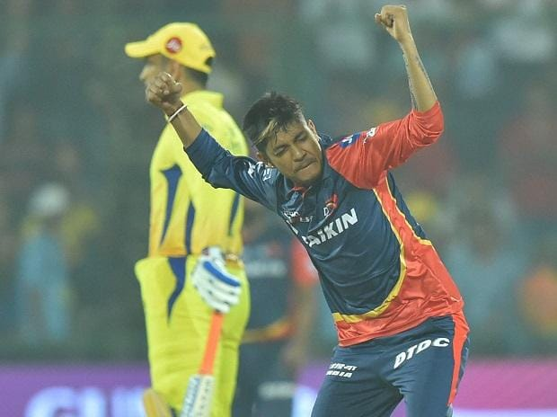 CSK vs DD, 2018, Delhi Daredevils bowler Sandeep celebrates wicket of Chennai Super Kings batsman Suresh Raina during an IPL 2018 match in New Delhi. Photo: PTI