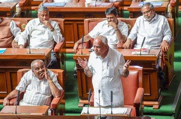 Outgoing Karnataka Chief Minister BS Yediyurappa addresses the house members before a floor test, at Vidhanasoudha, in Bengaluru, on Saturday