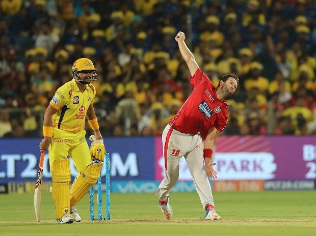 Andrew Tye of the Kings XI Punjab during match fifty six of the Vivo Indian Premier League 2018 (IPL 2018) between the Chennai Super Kings and the Kings XI Punjab held at the Maharashtra Cricket Association Cricket Stadium. Photo: PTI
