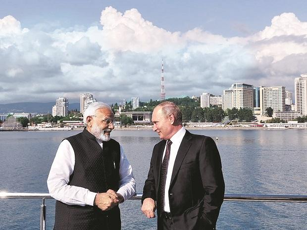 PM Narendra Modi with Russian President Vladimir Putin, at Sochi, Russia, on Monday