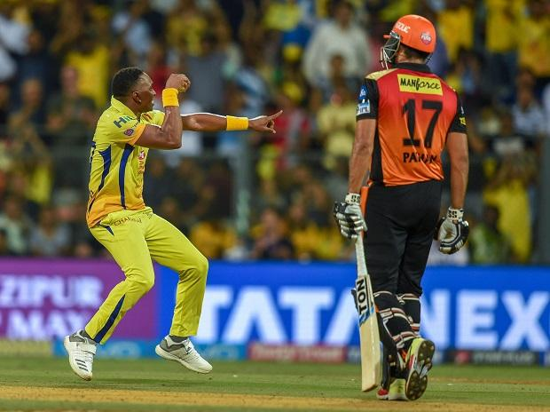 CSk vs SRH, IPL 2018, Chennai Super Kings Dwayne Bravo celebrates the dismissal of Sunrisers Hydrabad's  Yusuf Pathan during the 1st IPL 2018 qualifier cricket match, in Mumbai. Photo: PTi