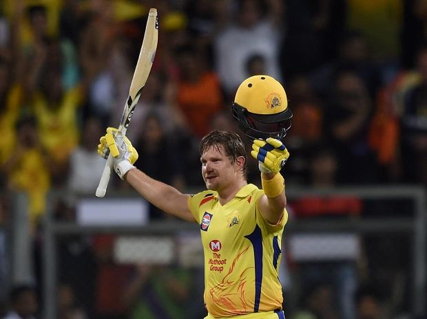 Chennai Super Kings batsman Shane Watson celebrates his century against Sunrisers Hyderabad in the IPL 2018 final cricket match, in Mumbai. Photo: PTI