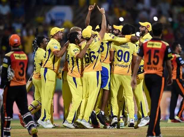 Chennai Super Kings players celebrate their win against Sunrisers Hyderabad in the IPL 2018 final cricket match, in Mumbai. Photo: PTI