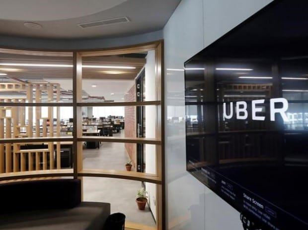 The interior of the office of ride-hailing service Uber is seen in this picture in Gurugram