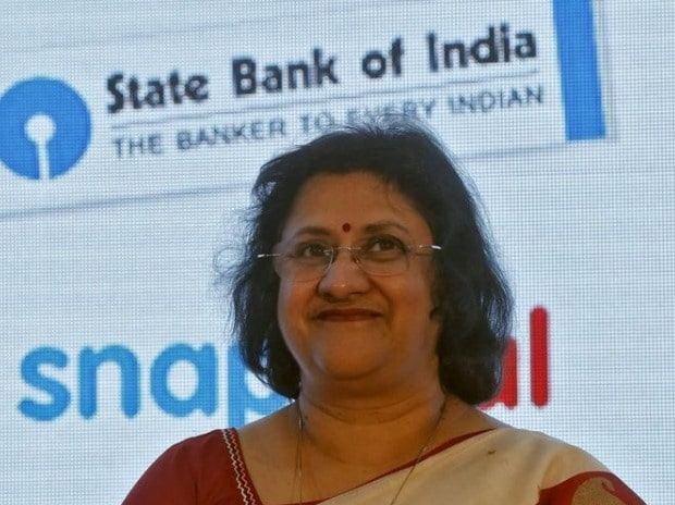 State Bank of India (SBI) chairwoman Arundhati Bhattacharya smiles during a product launch in Mumbai