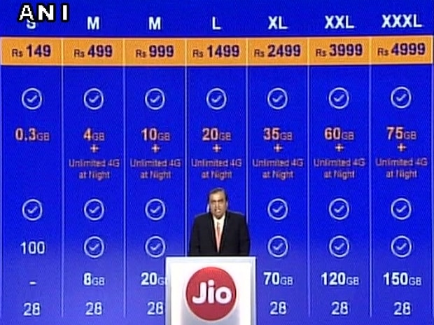Reliance Jio data tariff plans introduced by Mukesh Ambani