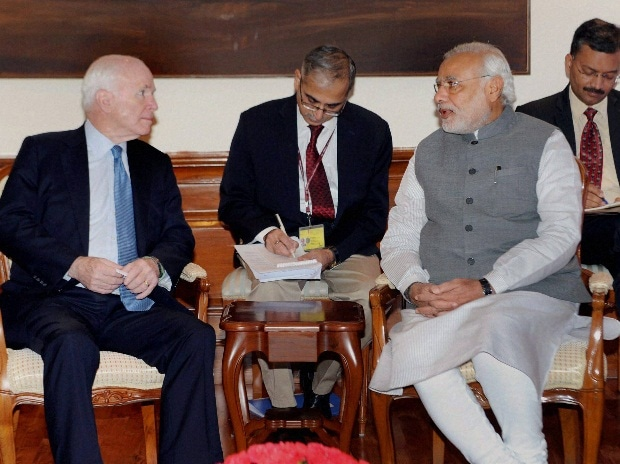 File photo. Prime Minister Narendra Modi with US Senator John McCain at a meeting in New Delhi