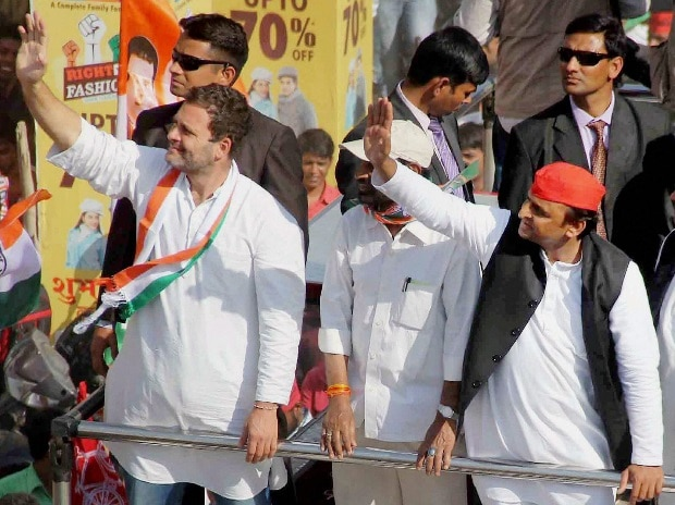 Congress vice-president Rahul Gandhi and Uttar Pradesh Chief Minister Akhilesh Yadav during a road show campaign in Allahabad on Tuesday.