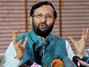 File photo of Union HRD Minister Prakash Javdekar briefing the  media before the results