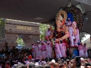Ganesh idol of Lalbaugcha Raja being taken for immersion in Mumbai. Photo: Kamlesh Pednekar
