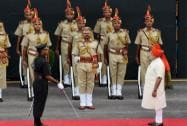 Narendra Modi arrives at the Red Fort